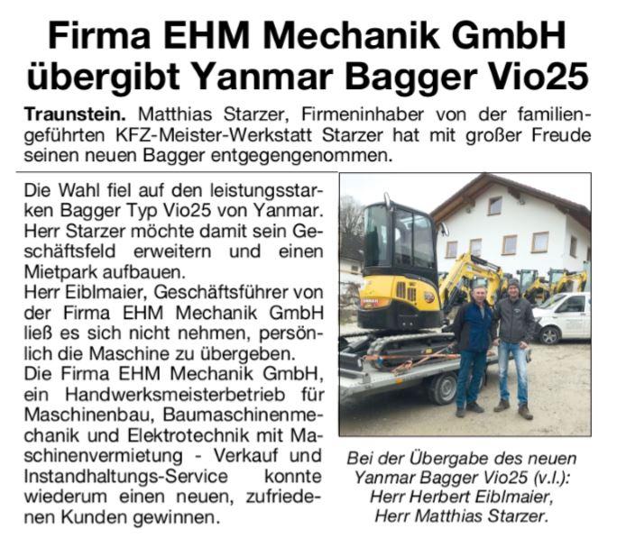 EHM übergibt Yanmar Bagger Vio