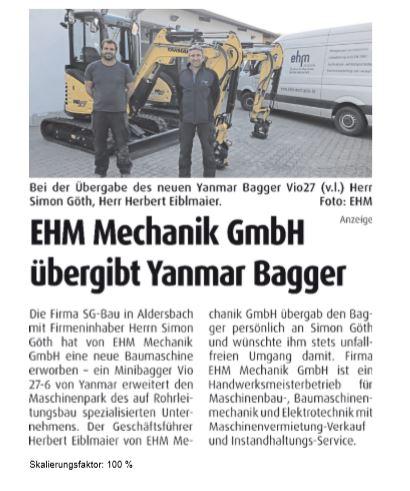 Yanmar Bagger-Übergabe An Die Firma SG-Bau In Aldersbach